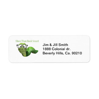 More Than Book Smart Book Worm Return Address Label