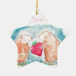 More than Carrots Guinea Pigs In Love Painting Ceramic Star Decoration