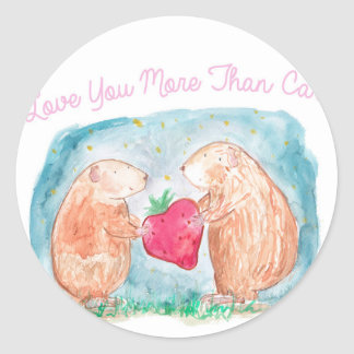 More than Carrots Guinea Pigs In Love Painting Classic Round Sticker