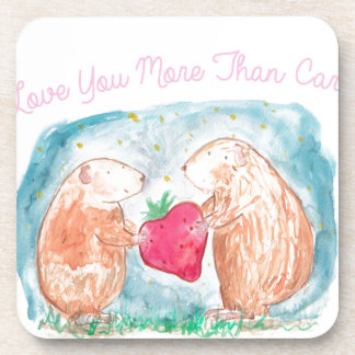 More than Carrots Guinea Pigs In Love Painting Drink Coaster