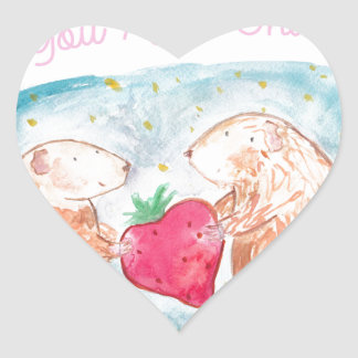 More than Carrots Guinea Pigs In Love Painting Heart Sticker