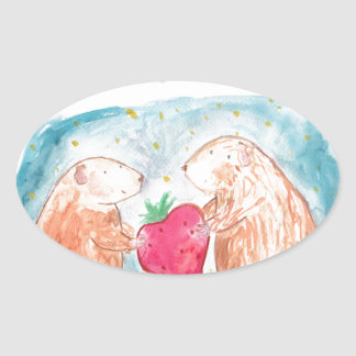 More than Carrots Guinea Pigs In Love Painting Oval Sticker