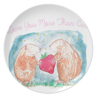More than Carrots Guinea Pigs In Love Painting Party Plate