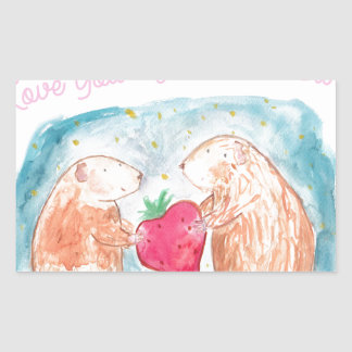 More than Carrots Guinea Pigs In Love Painting Rectangular Sticker