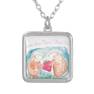 More than Carrots Guinea Pigs In Love Painting Silver Plated Necklace