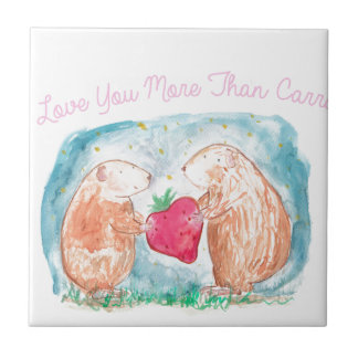 More than Carrots Guinea Pigs In Love Painting Small Square Tile