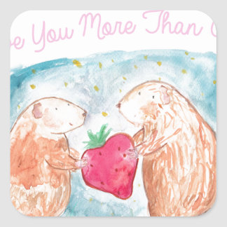 More than Carrots Guinea Pigs In Love Painting Square Sticker