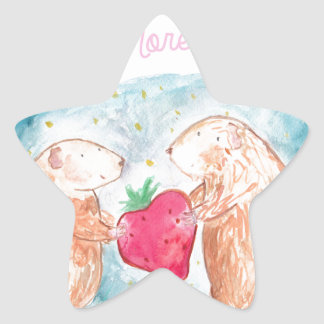 More than Carrots Guinea Pigs In Love Painting Star Sticker