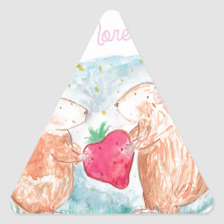 More than Carrots Guinea Pigs In Love Painting Triangle Sticker