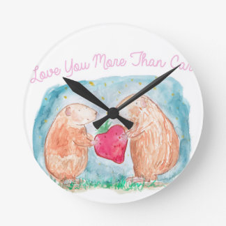 More than Carrots Guinea Pigs In Love Painting Wallclock
