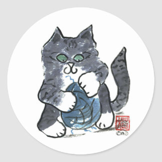 More Yarn Play by Gray Tiger Kitten, Sumi-e Classic Round Sticker