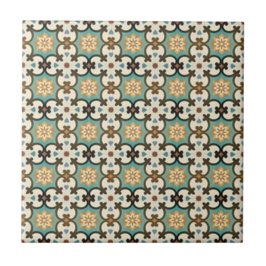 Moresque Pattern Small Square Tile