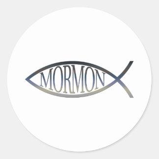 Mormon Fish Classic Round Sticker