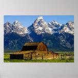Mormon Row Barn and Mountains Poster