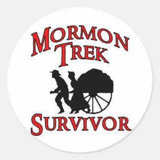 mormon trek survivor classic round sticker
