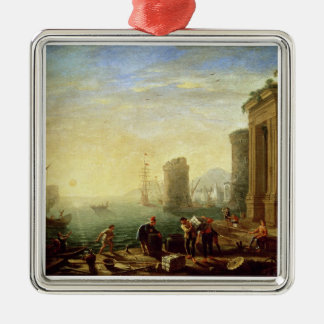 Morning at the Port, 1640 (oil on canvas) Christmas Ornament