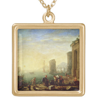 Morning at the Port, 1640 (oil on canvas) Square Pendant Necklace