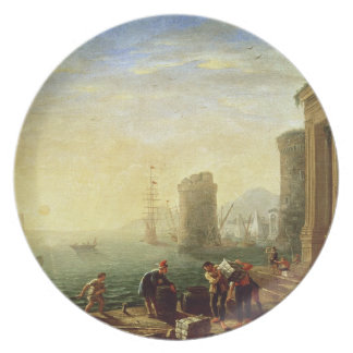Morning at the Port, 1640 (oil on canvas) Party Plates