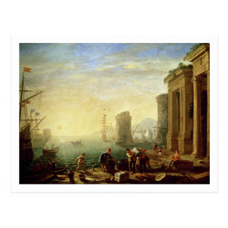 Morning at the Port, 1640 (oil on canvas) Postcard