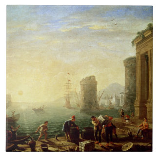 Morning at the Port, 1640 (oil on canvas) Tile