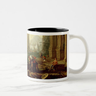 Morning at the Port, 1640 (oil on canvas) Two-Tone Coffee Mug