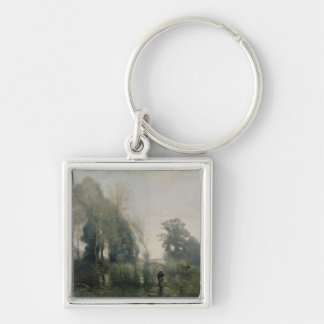 Morning at Ville-d'Avray or, The Cowherd, 1868 Silver-Colored Square Key Ring