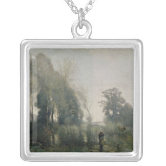 Morning at Ville-d'Avray or, The Cowherd, 1868 Silver Plated Necklace