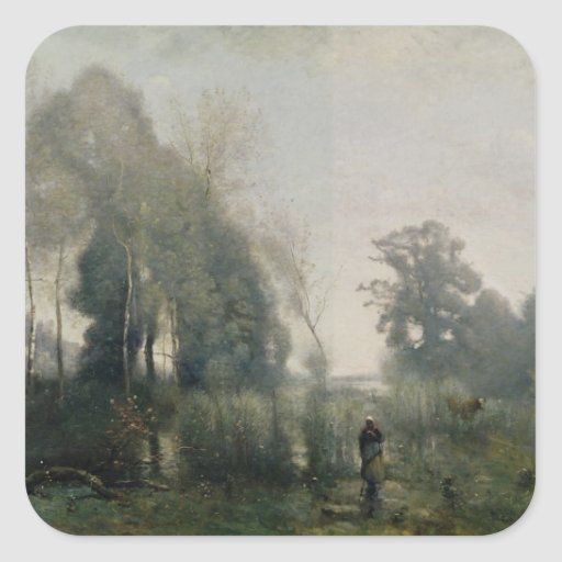 Morning at Ville-d'Avray or, The Cowherd, 1868 Square Sticker
