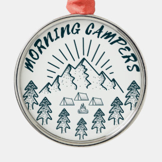 morning campers Silver-Colored round decoration