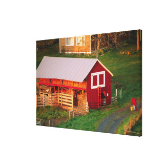 Morning chores on the farm. USA, Vermont, Canvas Print