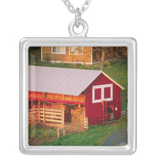 Morning chores on the farm. USA, Vermont, Silver Plated Necklace