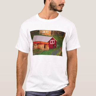 Morning chores on the farm. USA, Vermont, T-Shirt