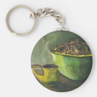 Morning Coffee by Paula Atwell Basic Round Button Key Ring