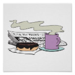 morning coffee doughnut and newspaper paper design