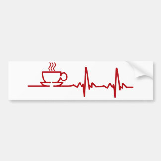 Morning Coffee Heartbeat EKG Bumper Sticker