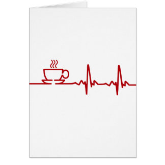 Morning Coffee Heartbeat EKG Greeting Card