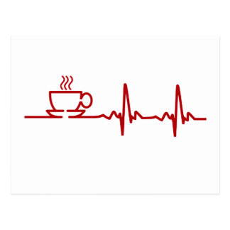 Morning Coffee Heartbeat EKG Postcard