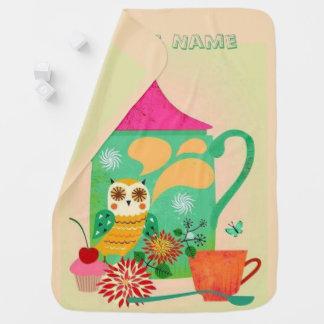 Morning Coffee Owl Baby Blanket