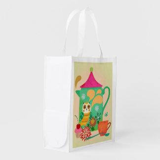 Morning Coffee Owl Reusable Grocery Bag