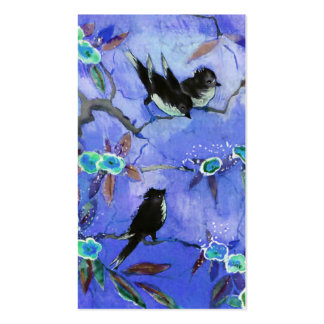Morning Colors Bird Painting in Blue Turquoise Business Card Templates