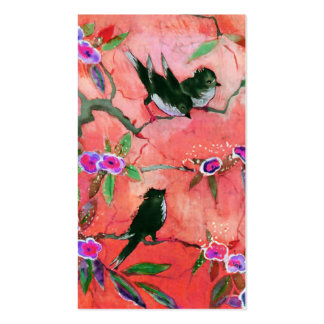 Morning Colors Bird Painting in Peach and Fuchsia Business Cards