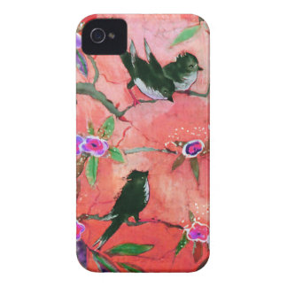 Morning Colors: Bird Painting in Peach and Fuchsia iPhone 4 Case-Mate Case