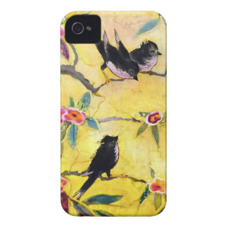 Morning Colors: Bird Painting in Yellow and Pink iPhone 4 Case-Mate Cases