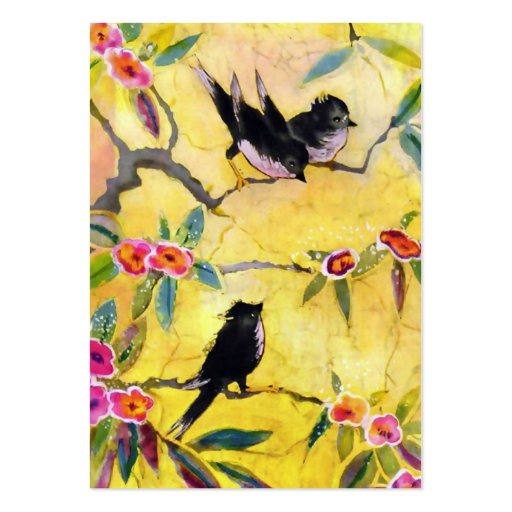 Morning Colours: Bird Painting in Yellow and Pink Pack Of Chubby Business Cards