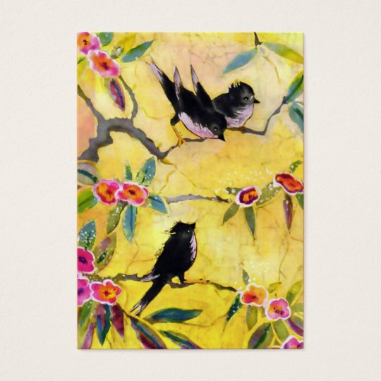Morning Colours: Bird Painting in Yellow and Pink Business Card