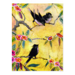Morning Colours: Bird Painting in Yellow and Pink Postcards