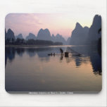 Morning crossing on River Li, Guilin, China Mouse Pads
