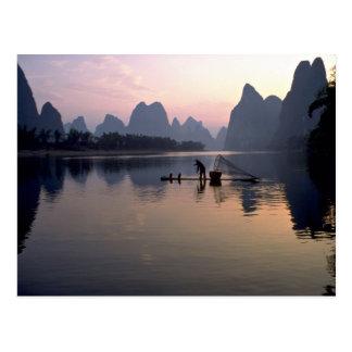 Morning crossing on River Li, Guilin, China Postcard