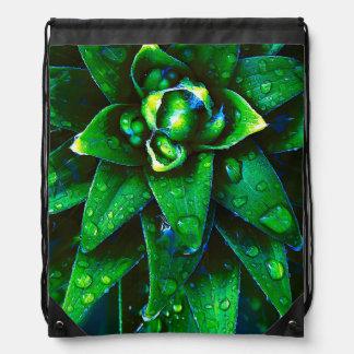 Morning Dew On Plant Drawstring Bag