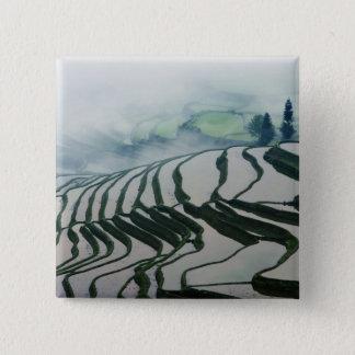 Morning Fog Above Rice Fields 15 Cm Square Badge